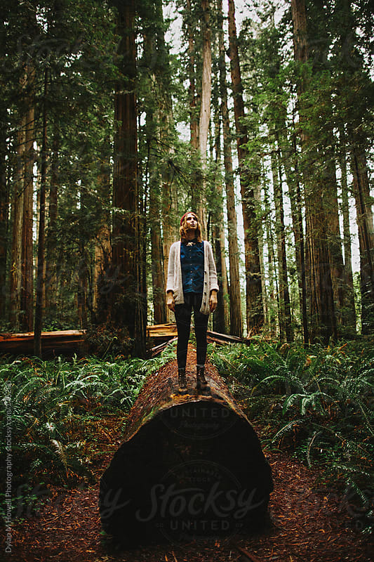 Girl standing on a log in the forest by Dylan M Howell Photography for Stocksy United