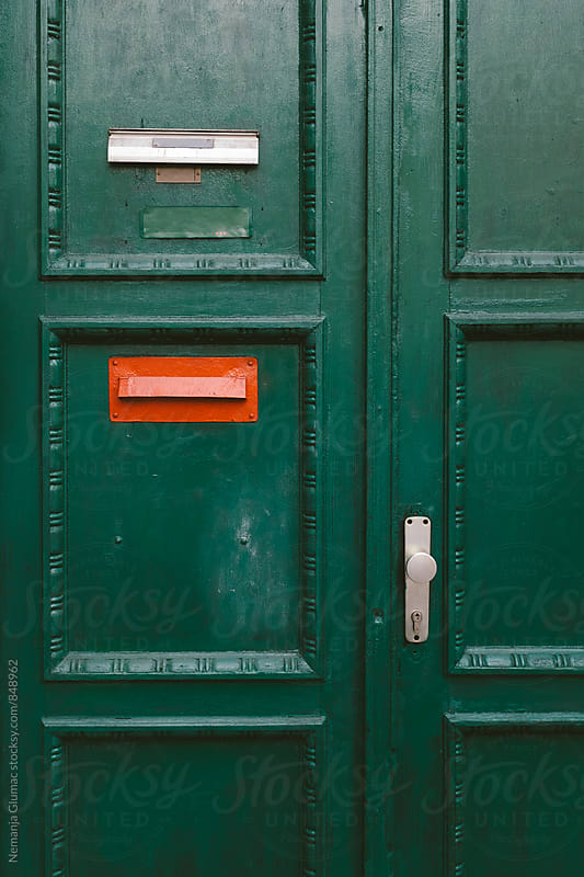 Green Wooden Door With Red Mailbox by Nemanja Glumac for Stocksy United