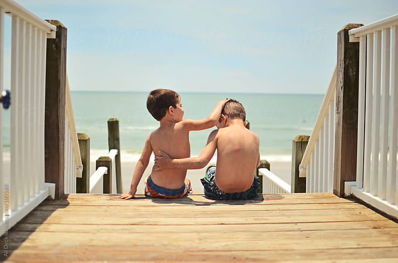 Brothers at the Beach by Ali Deck for Stocksy United