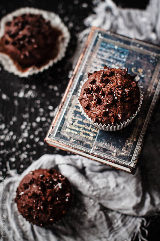 Chocolate, banana and coconut muffins  by Federica Di Marcello for Stocksy United
