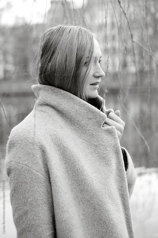 Black an white portrait of a woman by Lyuba Burakova for Stocksy United