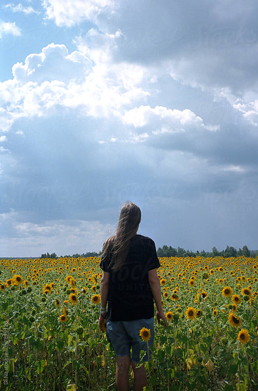 Long-haired man stands in a sunflowers field by Dina Lun for Stocksy United