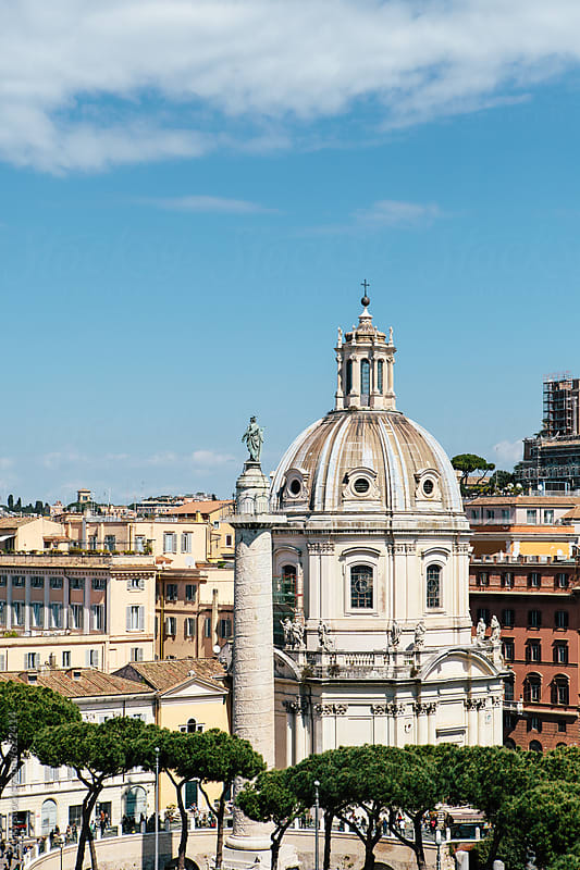 The old church and ancient Trajan's Column in Rome  by Zocky for Stocksy United