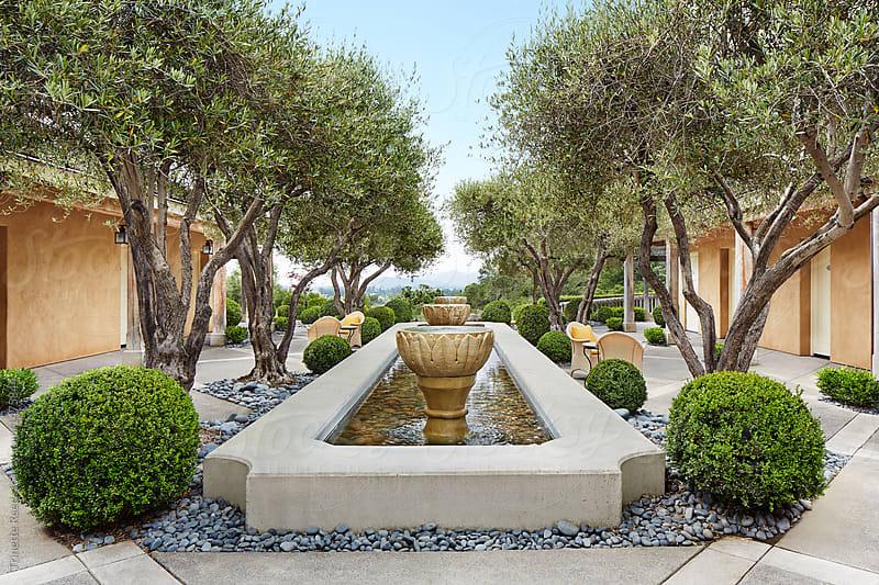 Fountain at luxury resort spa