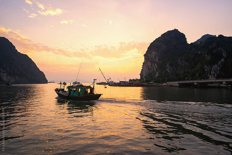 Sea sunset, Vietnam, halong bay by Miss Rein for Stocksy United