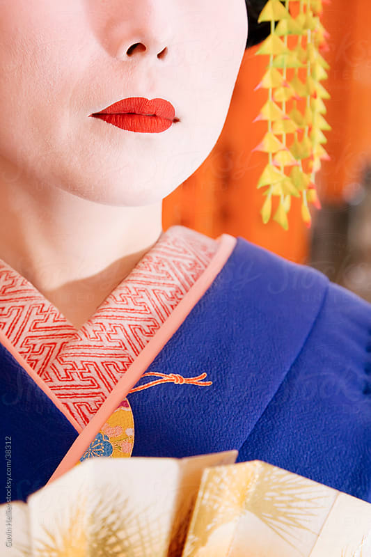 Asia, Japan, Honshu, Kansai Region, Kyoto, Fushimi-Inari Taisha shrine, portrait of a Geisha (detail) by Gavin Hellier for Stocksy United
