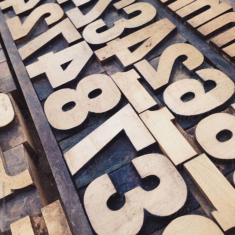 Vintage wooden letter printing blocks by Greg Schmigel for Stocksy United