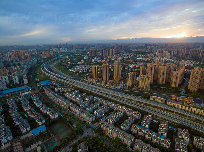 Chengdu City at Sunset by Bo Bo for Stocksy United