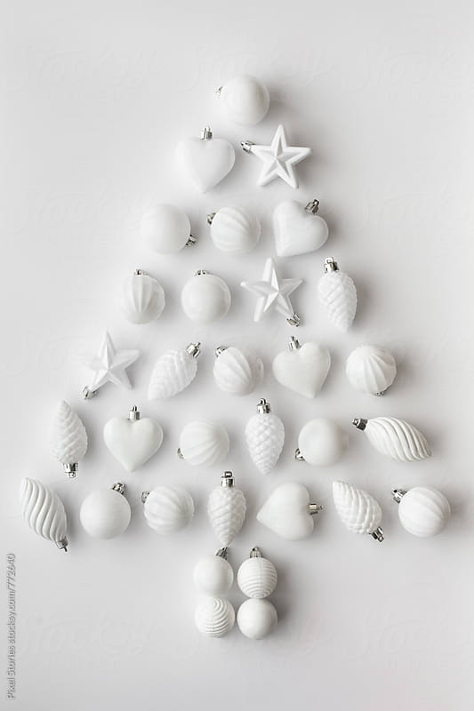 Christmas tree made of white baubles by Pixel Stories for Stocksy United