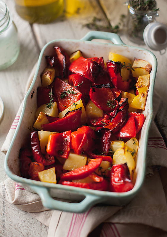 Peppers and Roasted Potatoes by Davide Illini for Stocksy United