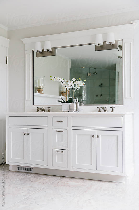 Bathroom in Contemporary Home by Raymond Forbes LLC for Stocksy United