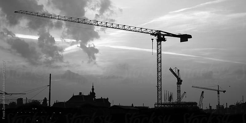 Black and White Crane Sight by Freek Zonderland for Stocksy United