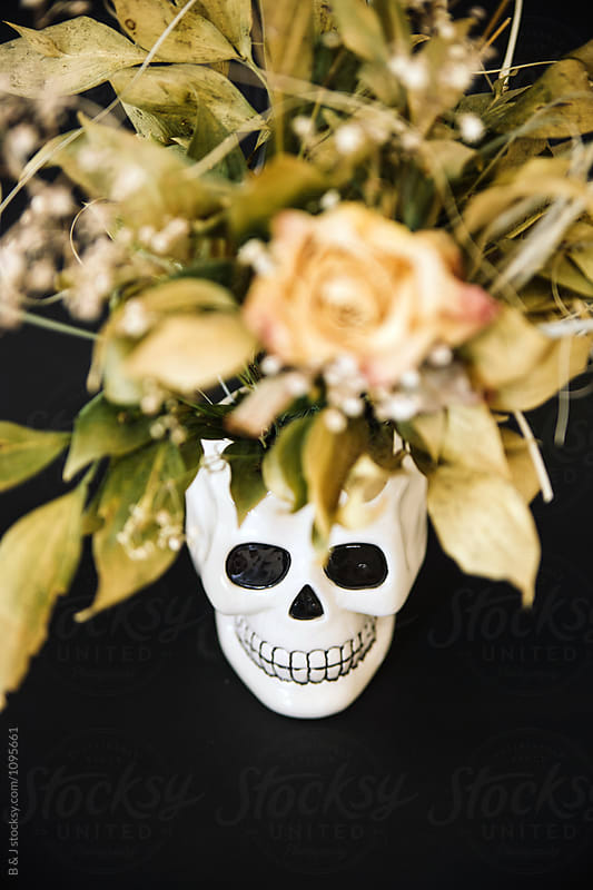close up of a Ceramic skull with dried flowers on a black background, by B & J for Stocksy United