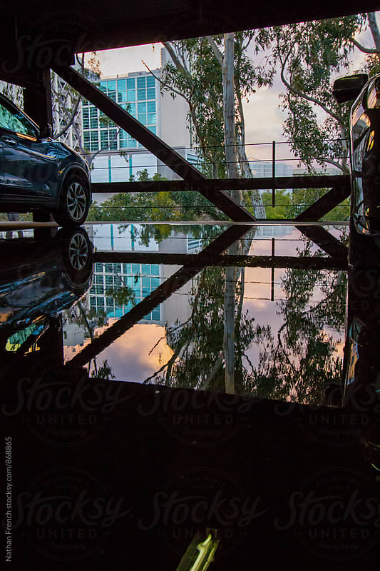 Parking Garage Reflections by Nathan French for Stocksy United