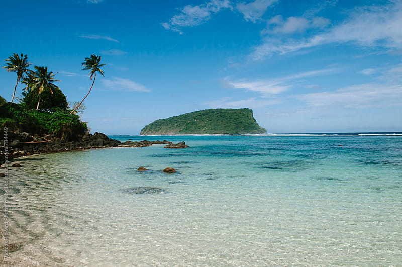 Beach, lagoon and island, South Coast, Samoa. by Thomas Pickard for Stocksy United