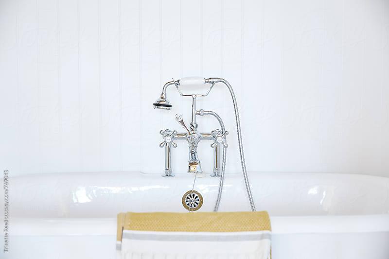 Clawfoot bathtub in cottage bathroom by Trinette Reed for Stocksy United