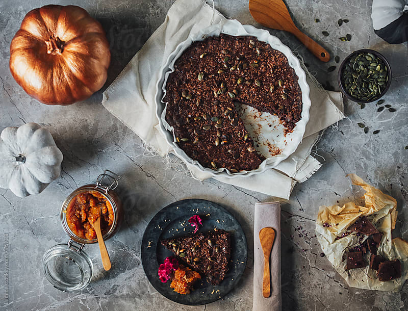 Chocolate Cake and Pumpkin Jam by Lumina for Stocksy United