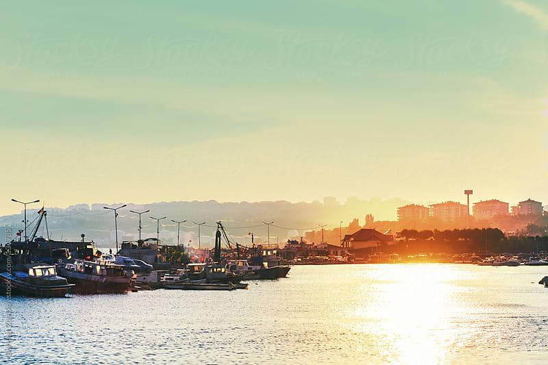 Turkey harbor on sunset by Borislav Zhuykov for Stocksy United