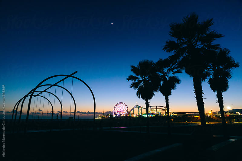 Santa Monica beach at dusk by Alejandro Moreno de Carlos for Stocksy United