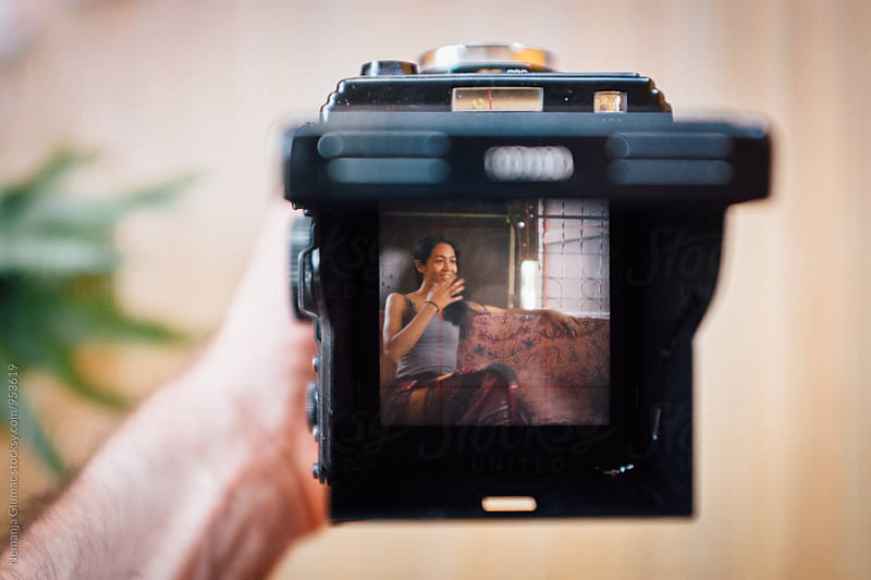 Thai Woman Visible in a Viewfinder of Medium Format Camera by Nemanja Glumac for Stocksy United