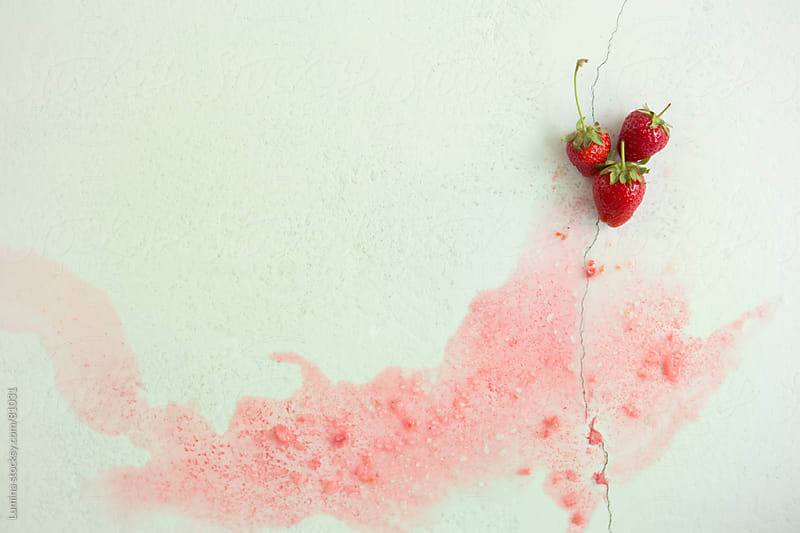 Strawberries Leaving a Watery Trail by Lumina for Stocksy United