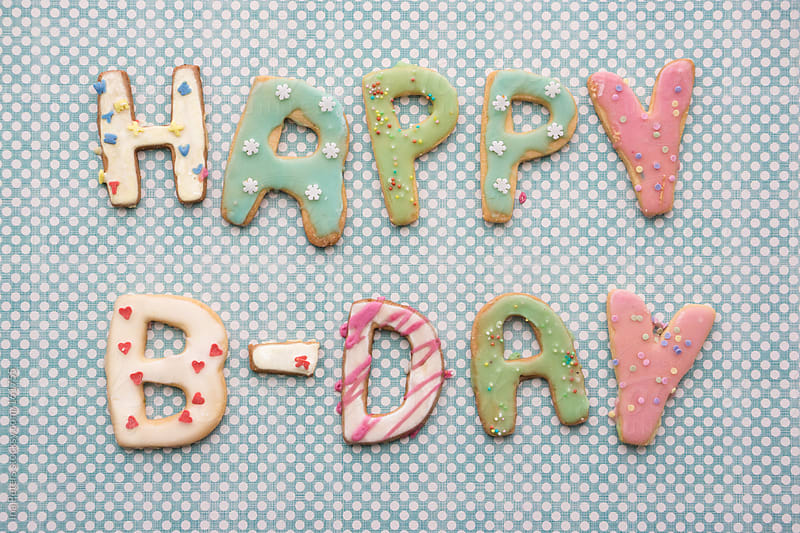 Food: Happy B-Day, Colorful Cookies by Ina Peters for Stocksy United