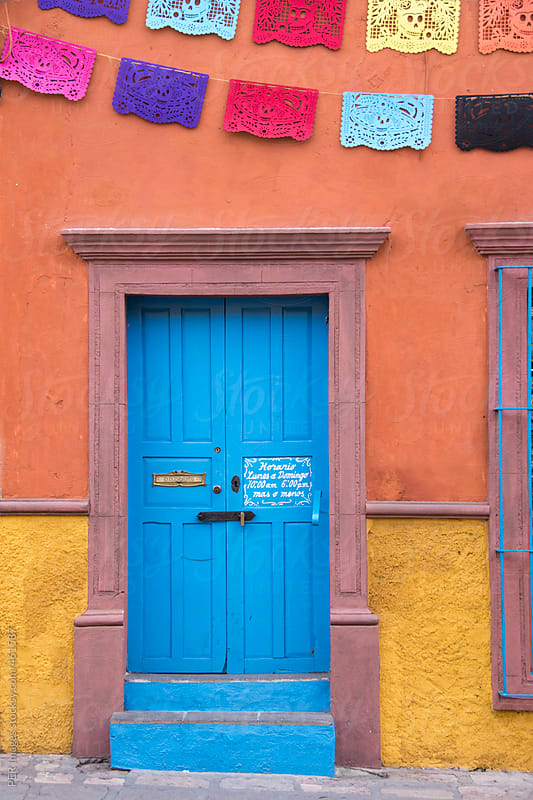 Beautiful, colorful colonial house in San Miguel de Allende, Mexico by Per Swantesson for Stocksy United