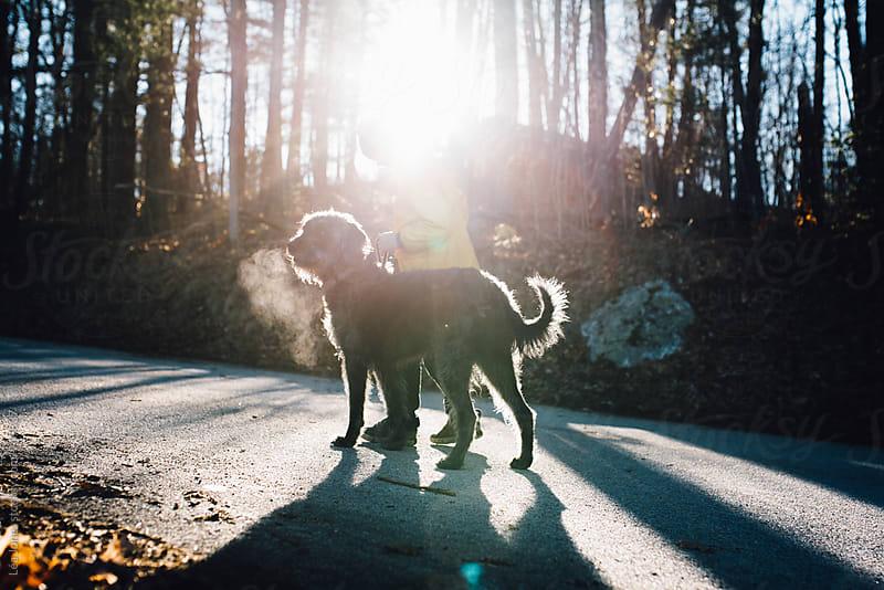 little boy walking his black dog by Léa Jones for Stocksy United