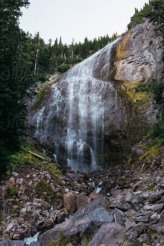 spray falls waterfall in northwest cascade mountain range by Jesse Morrow for Stocksy United