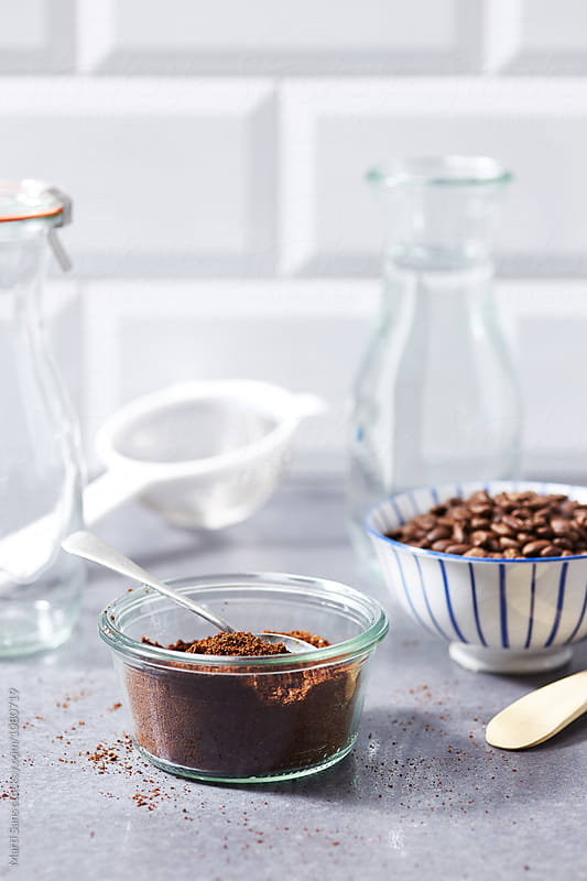 ramekin with milled coffee and spoon by Martí Sans for Stocksy United