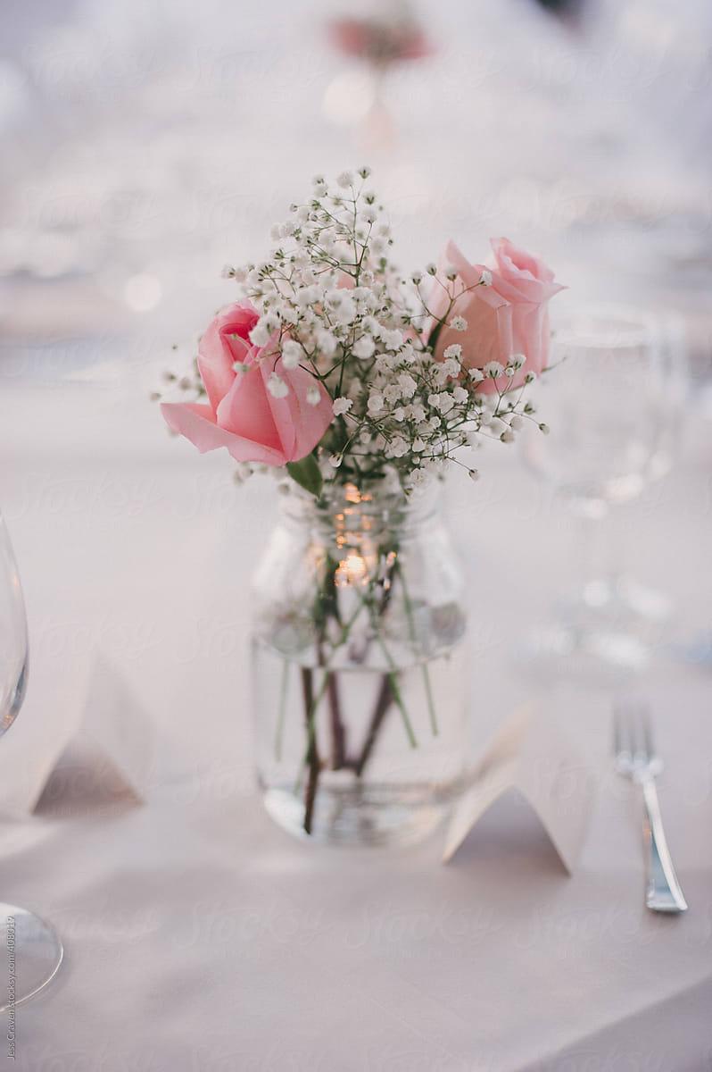 Simple Babys Breath And Pink Rose Flower Arrangement In Mason Jar