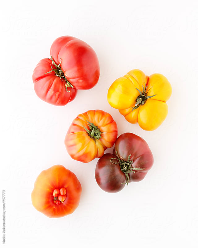 Fresh heirloom tomatos on white background by Naoko Kakuta for Stocksy United