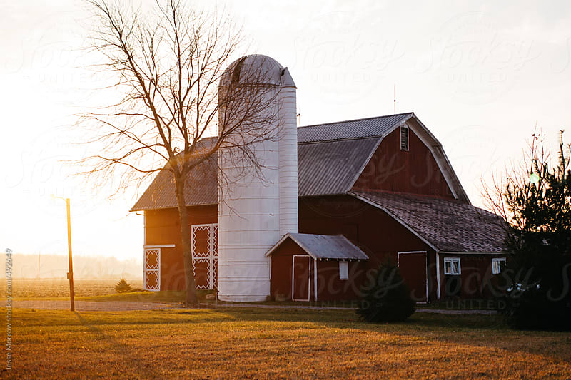 Barn and Silo in Midwest by Jesse Morrow for Stocksy United