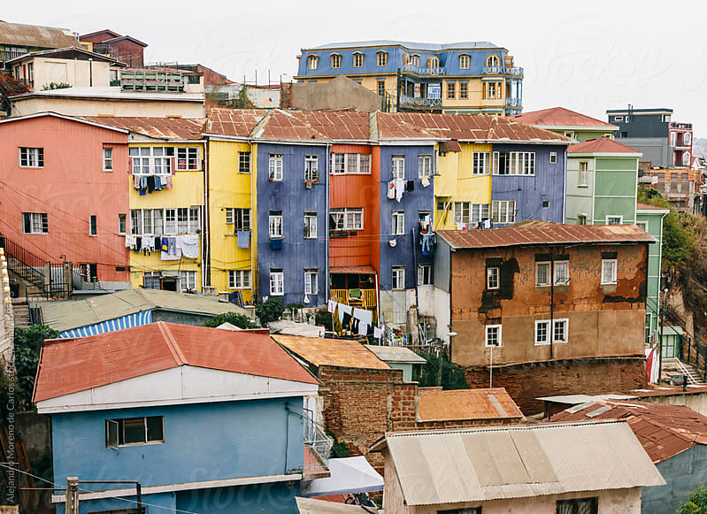 Colorful buildings and houses, Valparaiso, Chile by Alejandro Moreno de Carlos for Stocksy United