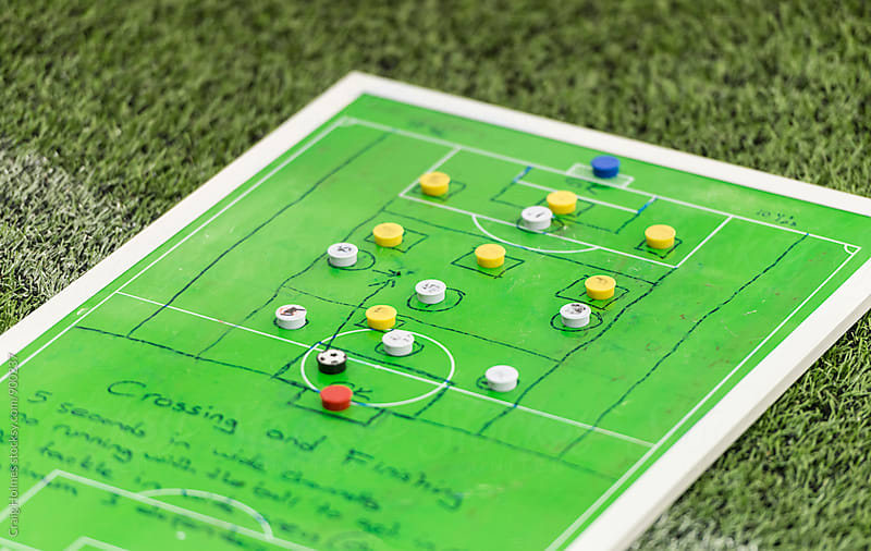 Strategic sports boards preparing for a soccer match. by Craig Holmes for Stocksy United