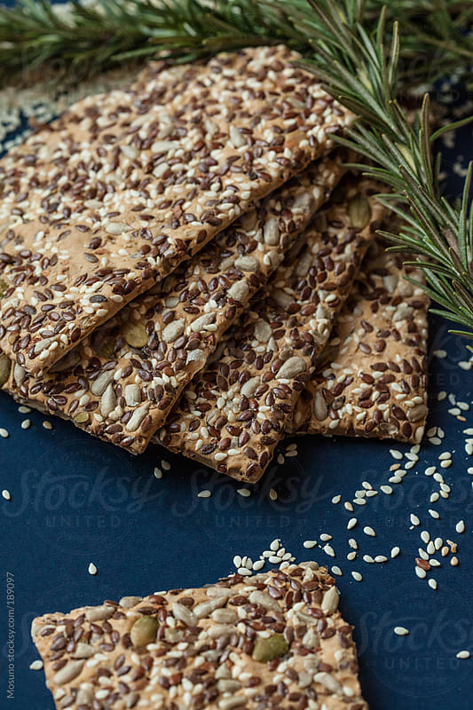 Sesame Crackers and Rosemary by Mosuno for Stocksy United