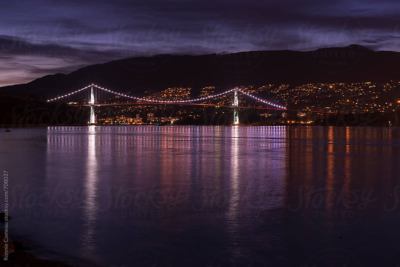 Vancouver View At Night by Ronnie Comeau for Stocksy United