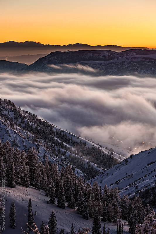 Fog Blankets Ogden Canyon Valley at Night by Odyssey Stock for Stocksy United