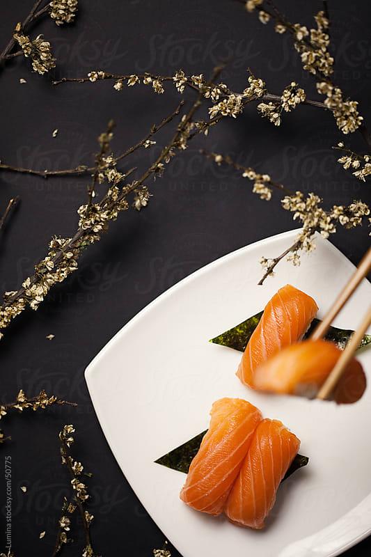 Salmon Nigiri Sushi by Lumina for Stocksy United