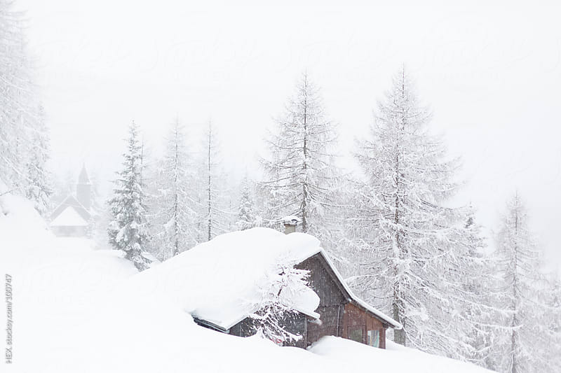House Winter Alps Landscape by HEX. for Stocksy United