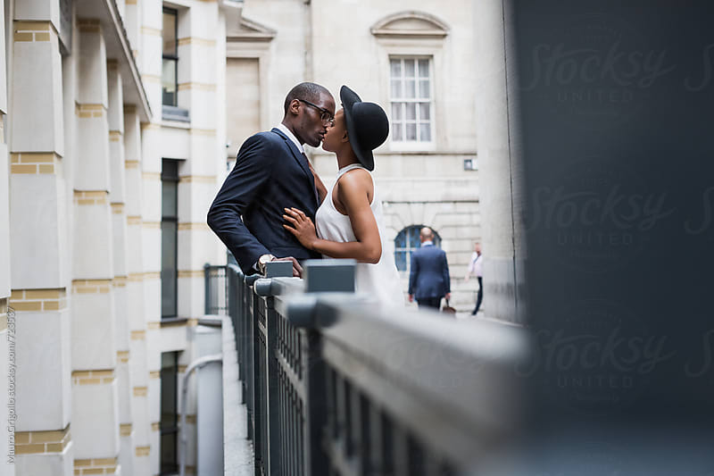 Beautiful couple meeting in the city by Mauro Grigollo for Stocksy United