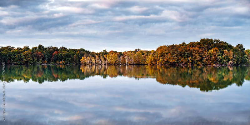 Reflection of Autumn Trees at Lake by Andreas Wonisch for Stocksy United