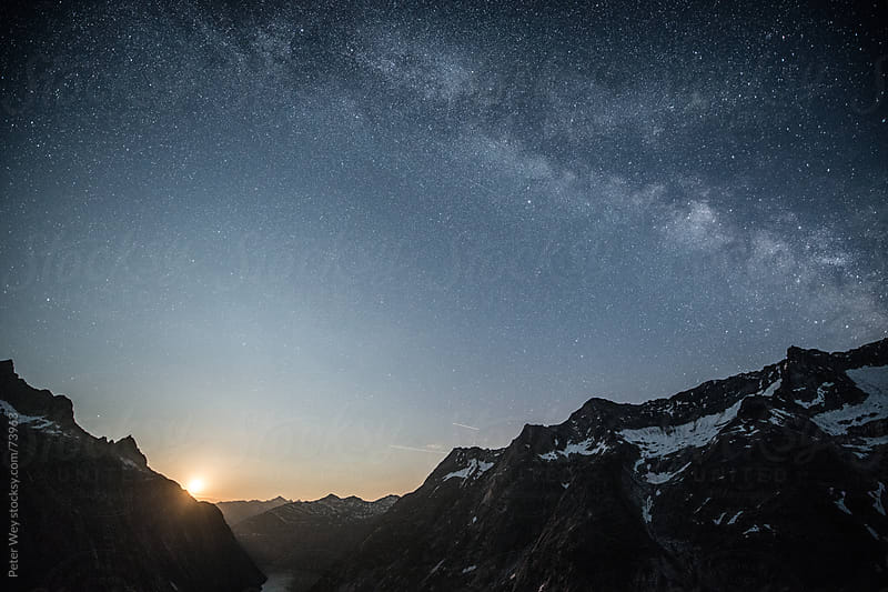 Moonrise with Galaxy from SAC Lauteraar mountain hut by Peter Wey for Stocksy United
