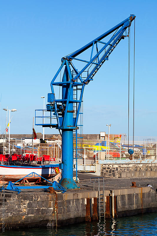Small Crane in Puerto de la Cruz Jetty by Victor Torres for Stocksy United