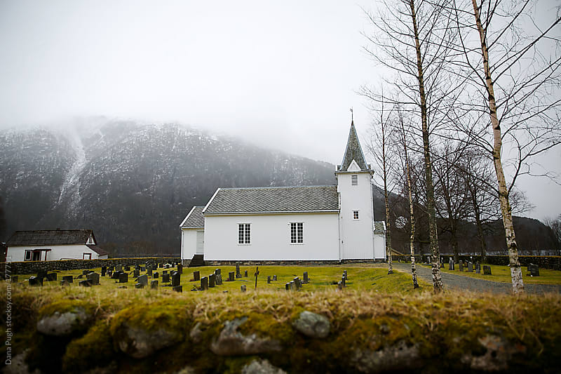 White Church in Rural Norway by Dana Pugh for Stocksy United