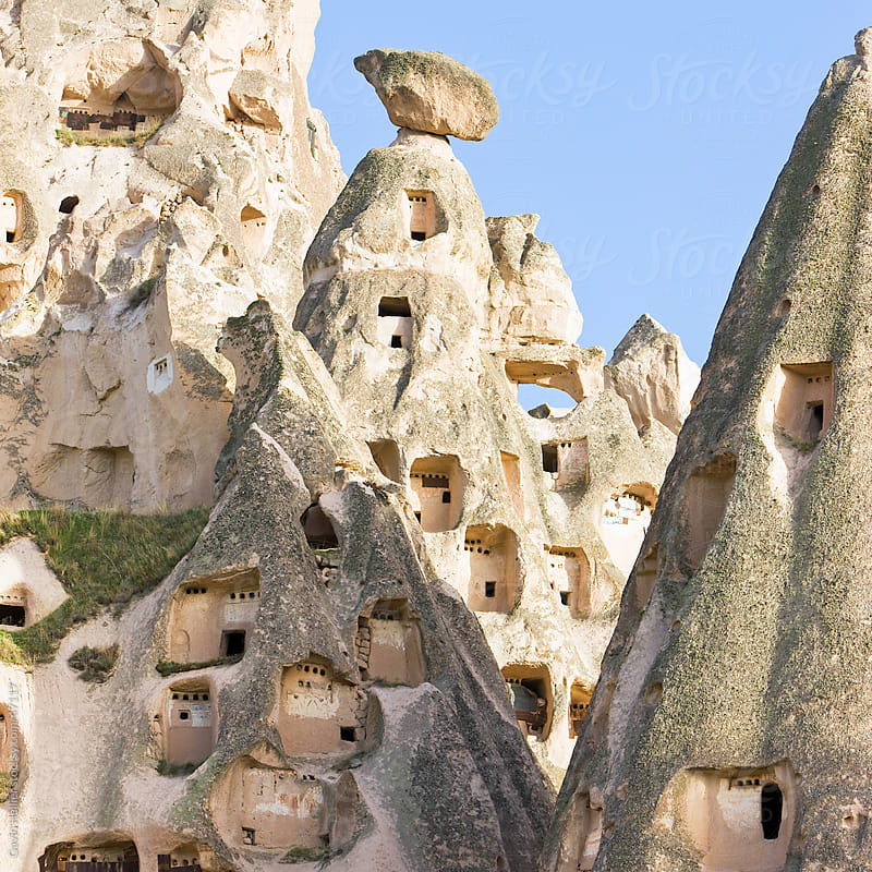 Old troglodytic cave dwellings in Uchisar, Cappadocia, Anatolia, Turkey, Asia Minor, Eurasia by Gavin Hellier for Stocksy United