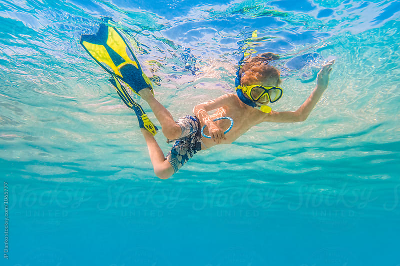 Boy Swimming Snorkeling Underwater at All Inclusive Caribbean Resort White Sand Beach by JP Danko for Stocksy United