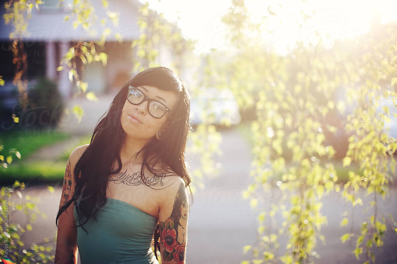 Neighborhood Tattooed Hipster Woman by Kevin Russ for Stocksy United