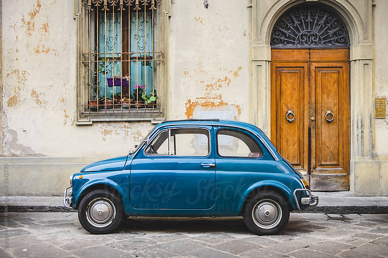 Small Italian Vintage Car Parked in Tuscan Alley by Giorgio Magini for Stocksy United