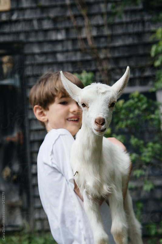 Boy holds a goat at a farm by Cara Dolan for Stocksy United